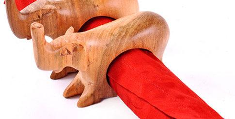 Mahogany Elephant Napkin Rings