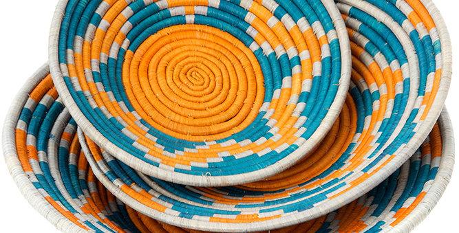Ugandan Moon Mountains Raffia Coil Baskets