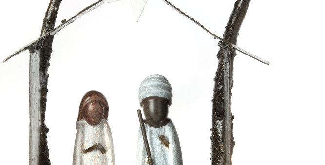 Zimbabwean Serpentine Stone and Metal Nativity Scene