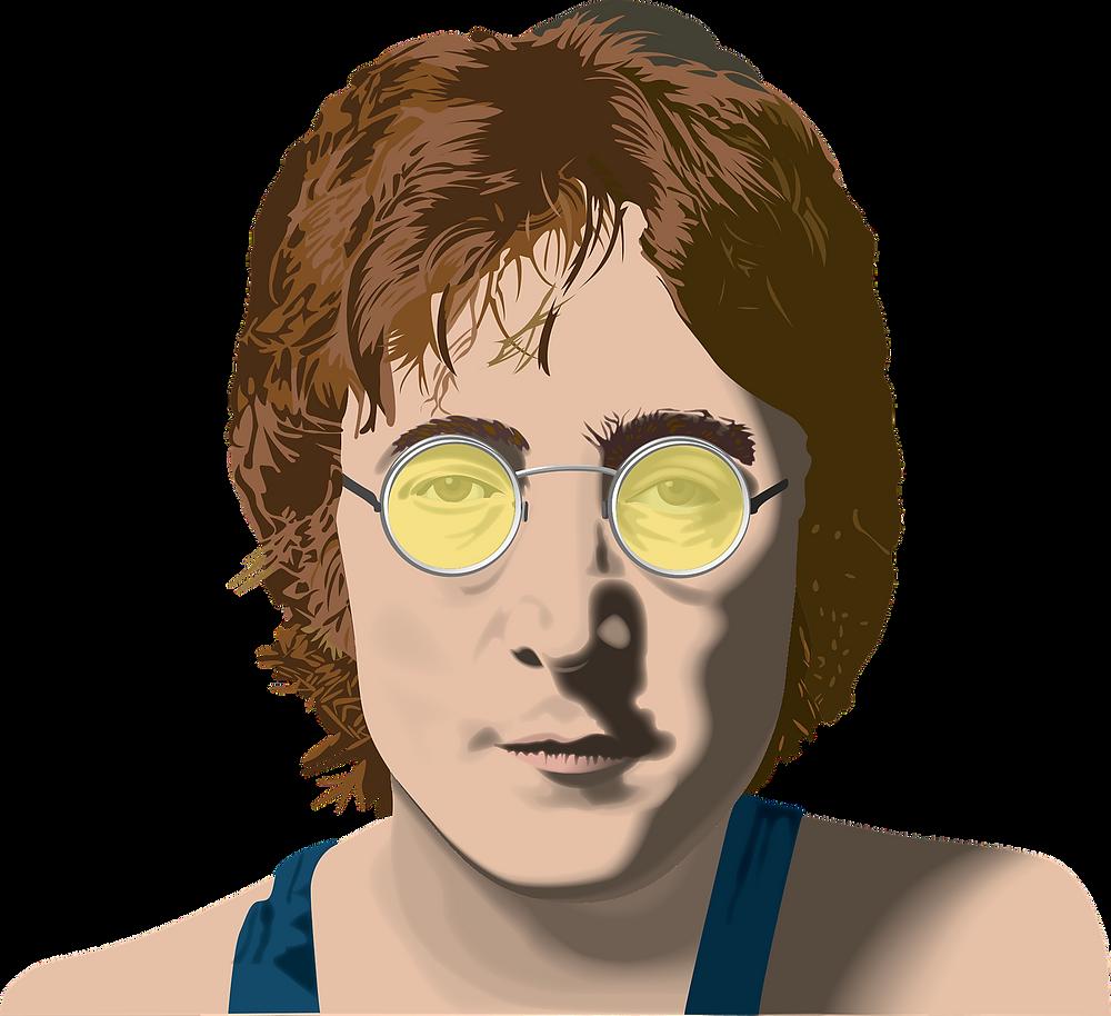 Un ritratto del cantante e artista inglese John Lennon, con indosso i suoi inconfondibili occhiali.