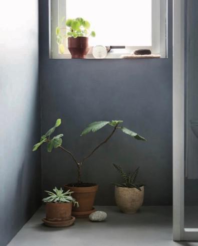 Fargekombinasjon av mikrosement i på vegg og gulv