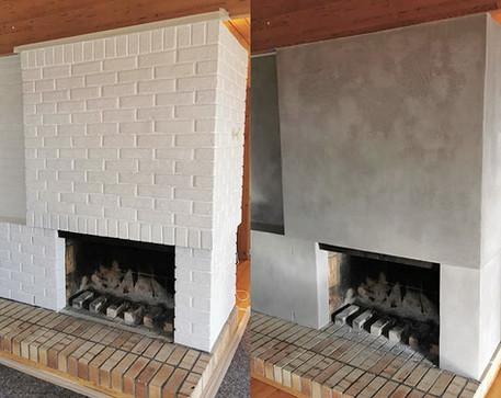 Oppgradering av mursteinspeis, før og etter mikrosement fra Dekorhuset