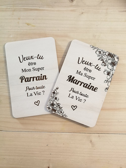 Jolie carte demande Parrain/Marraine