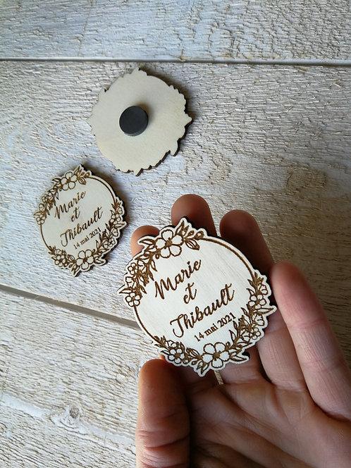 Magnets -couronne fleurs- personnalisables