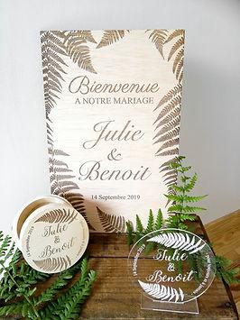 décoration mariage végétale pancarte