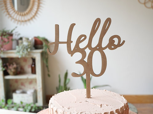 Cake topper Hello + chiffres - personnalisable -