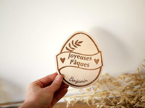 """Carte """"Joyeuses pâques/Ma première fête de pâques"""" -modèle feuilles-"""