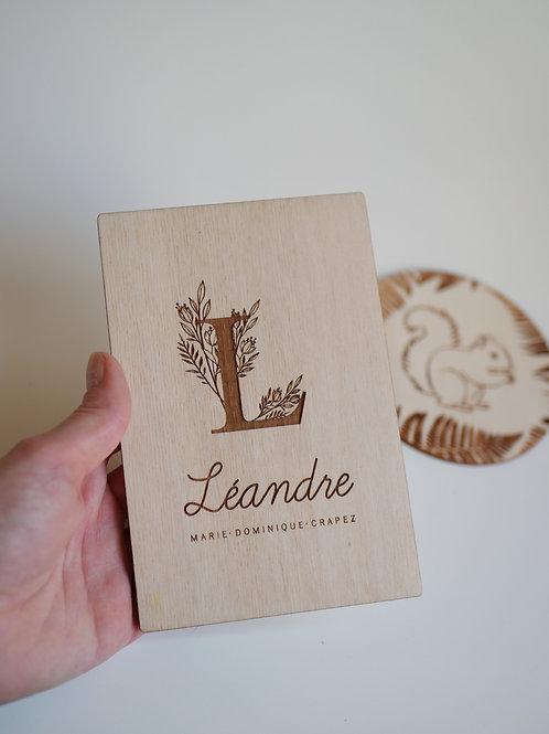 Carte Lettrine-Prénom  annonce bébé/ Faire-part naissance