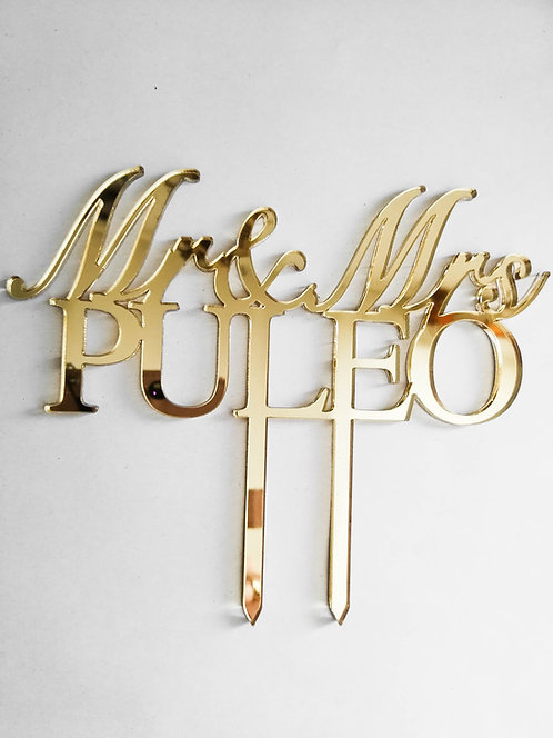 "Cake topper  ""Mr & Mrs""nom de famille"