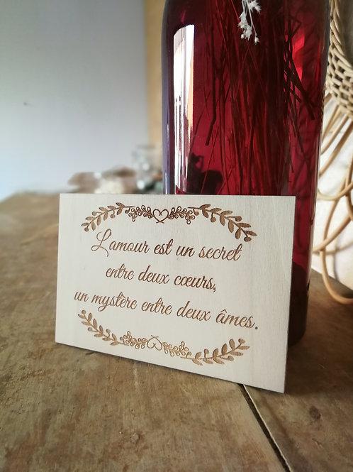 """Carte en bois """"L'amour"""""""
