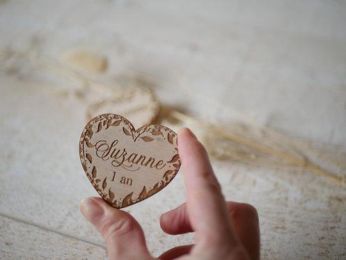 Magnets prénom(s) + date ou age- coeur-