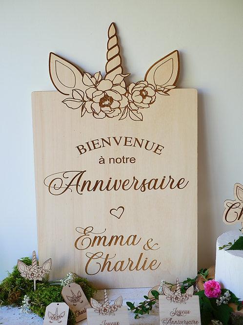 Pancarte anniversaire -licorne- personnalisée