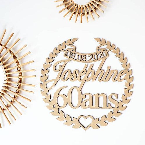 Grande couronne anniversaire en bois date+ prénom +âge