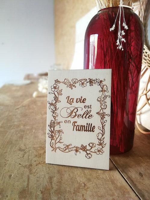 """Carte en bois """"la vie est Belle"""""""