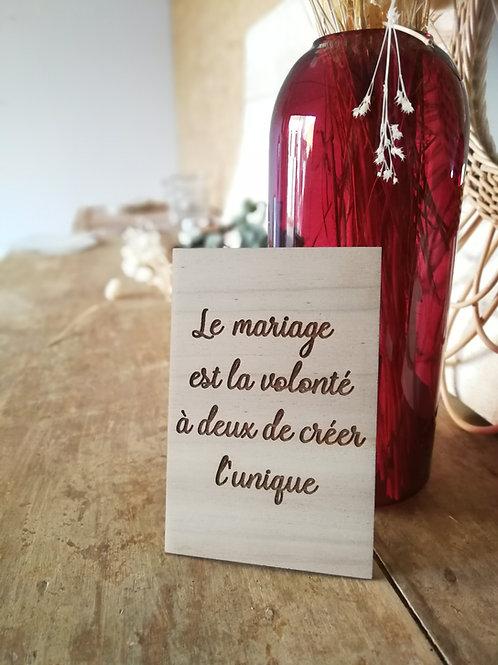 """Carte en bois """"Le mariage"""""""