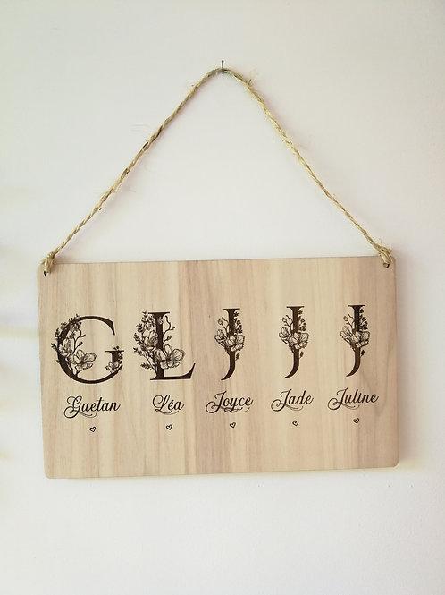 Décoration bois - Lettrines famille-