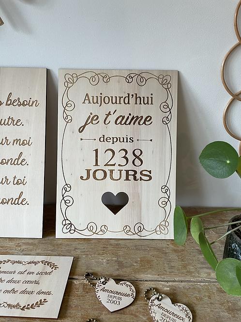 """carte postale en bois """"je t'aime"""""""