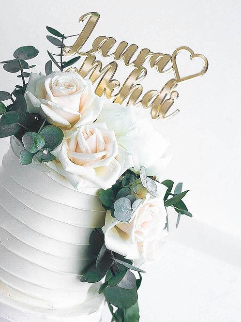 Cake topper prénoms & coeur