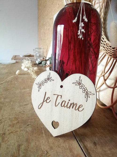 """Carte en bois """"Je t'aime"""""""