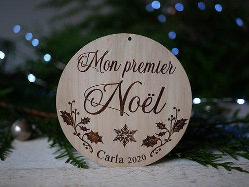 Mon premier Noël/ Joyeux Noël -Houx- décoration personnalisable