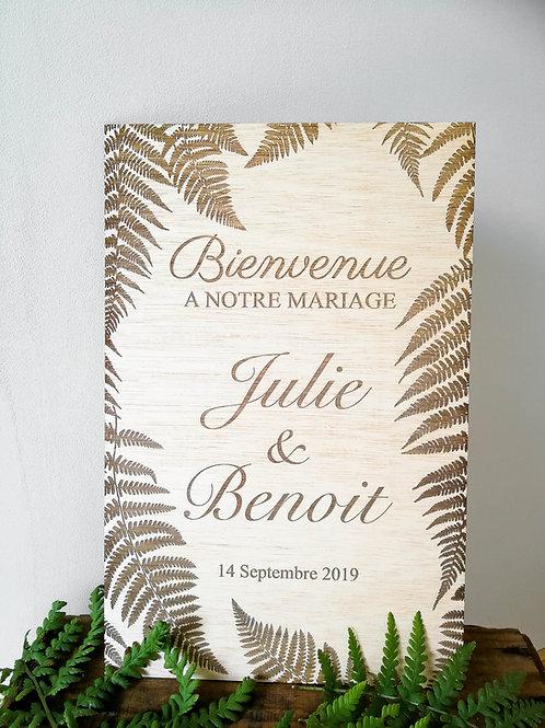 Pancarte de mariage - fougère-personnalisée