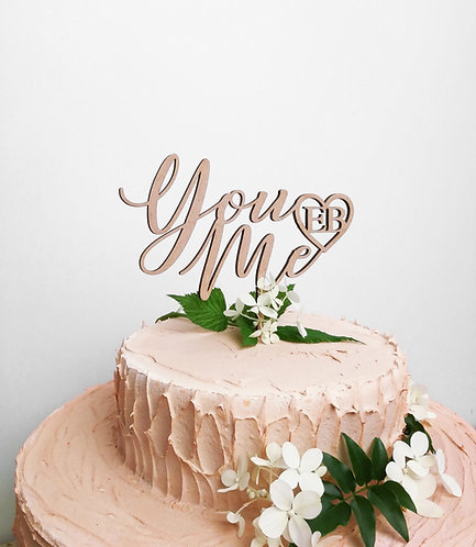 Cake Topper -YouMe + initiales -