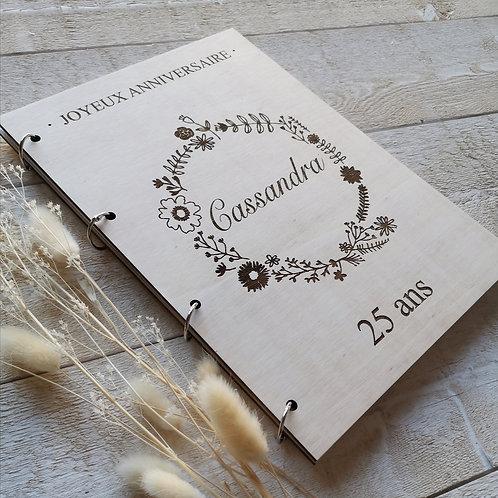 Livre d'or ANNIVERSAIRE -différents motifs- bois
