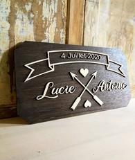 - Nouveau modèle -_Pancarte rectangulaire en bois _Personnalisable avec vos prénoms et dat