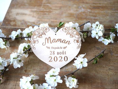 """Carte en bois  coeur """"Maman depuis le ..."""""""