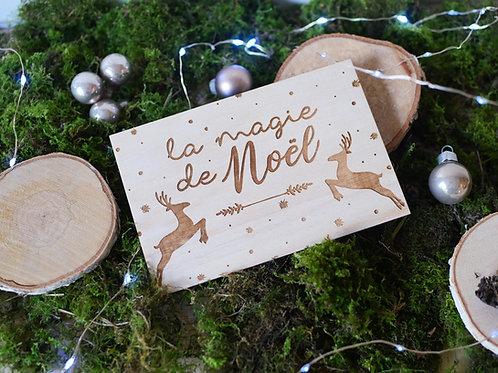 """Carte en bois """"La magie de Noël"""""""