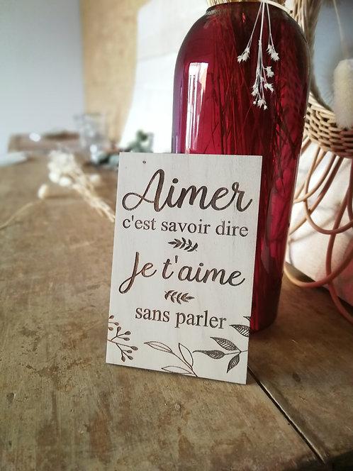 "Carte en bois ""Aimer"""