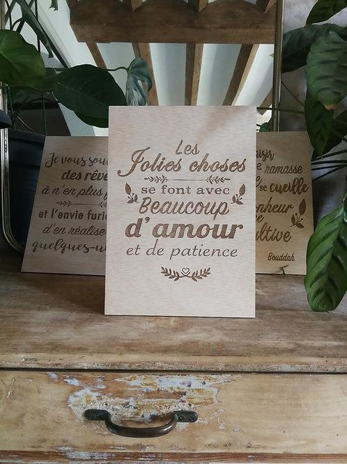 Pancarte bois gravure citation