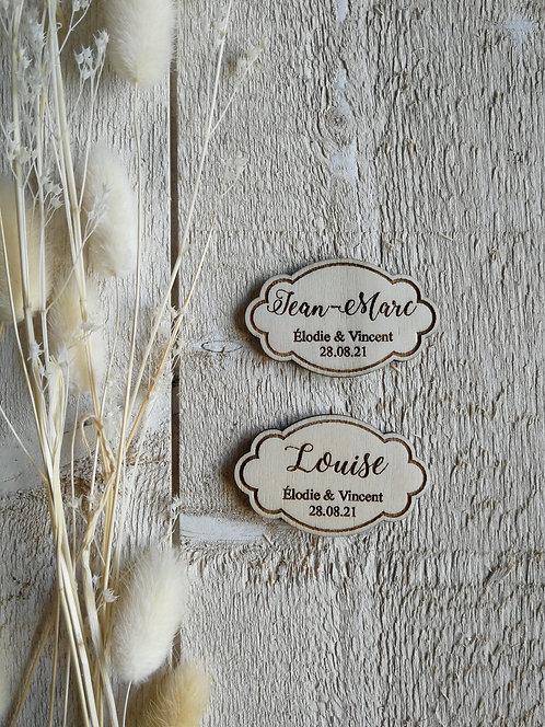 Marque place -etiquette- 1 avec gravure prénoms et date