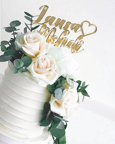 Cake topper en plexiglas miroir or sur l