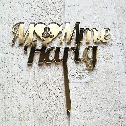 "Cake topper ""M&Mme + nom"""