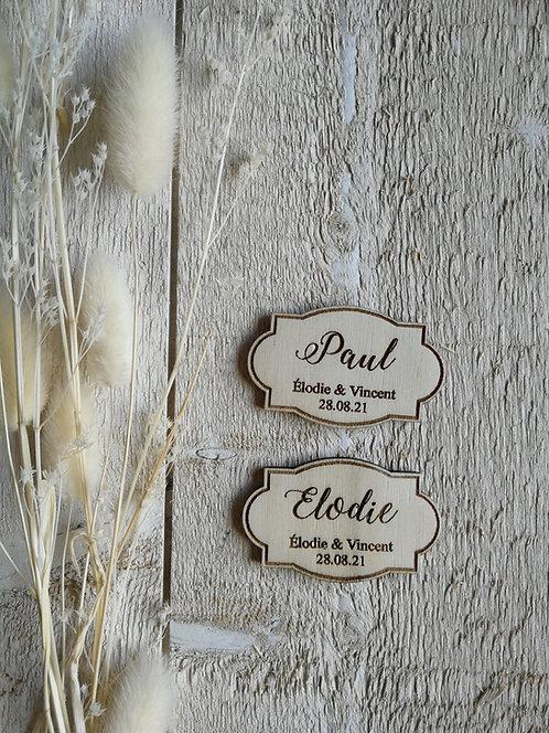 Marque place -etiquette- 2 avec gravure prénoms et date