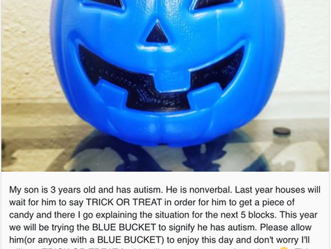 Mom encourages blue candy buckets on Halloween to raise awareness for kids with autism
