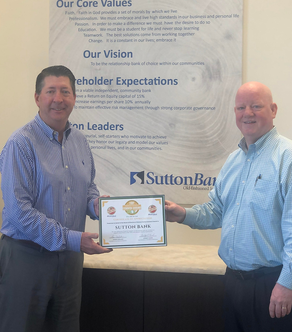 Sutton Bank CEO Tony Gorrell with SCCG board member, Dale Depew.