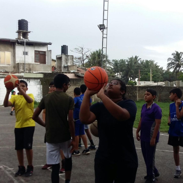 Basketball practice session