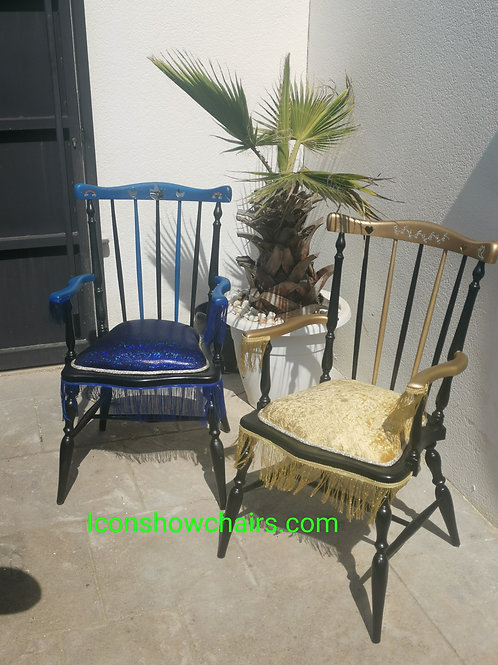 Blue and gold chairs with trim