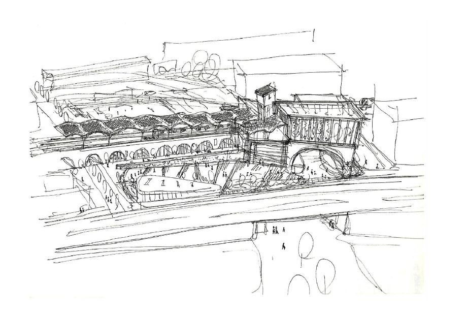 train station, sketch, drawing, Architect