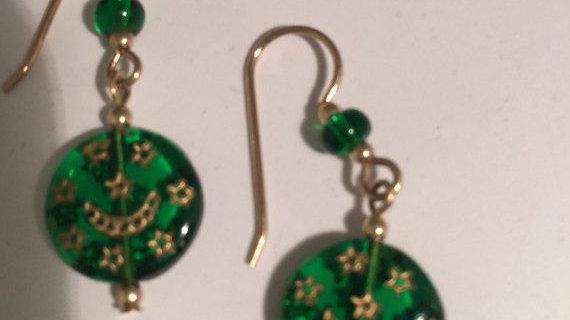 Green Glass Star Earrings