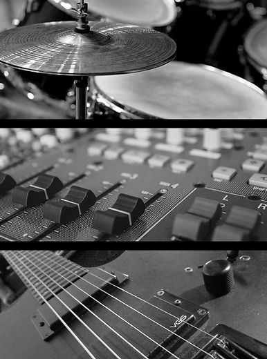 drums mixing desk and guitar at slab sound studio