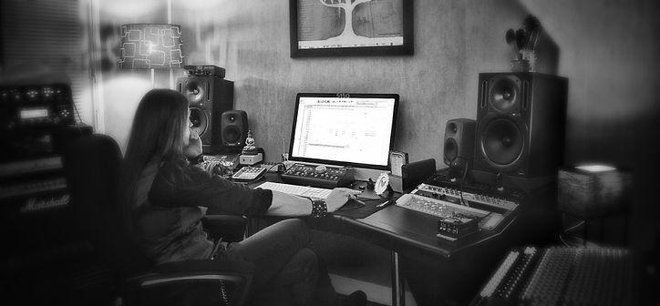 gwen kerjan working in the slab sound studio control room