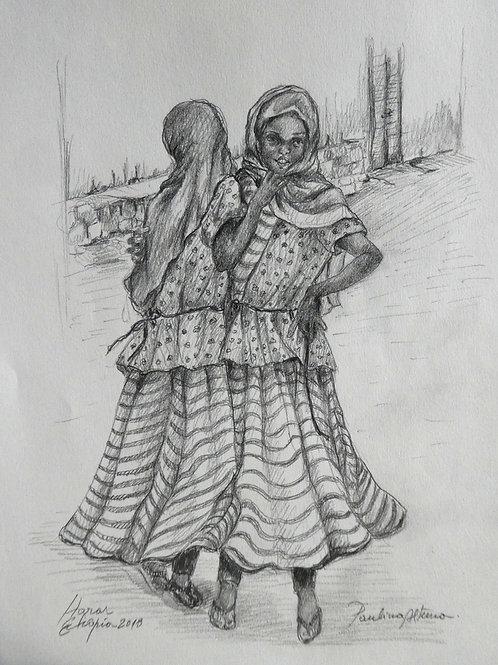 Deux filles au marché d'Harar, Ethiopie