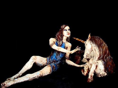 Gea et la Licorne, 60 x 120 x 60 cm