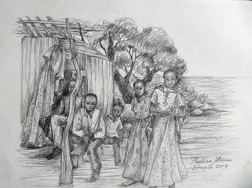 Enfants dans l'autoroute d'Arba Minch, Ethiopie