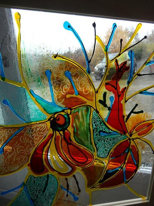 Peinture sur verre 30 x 20 cm