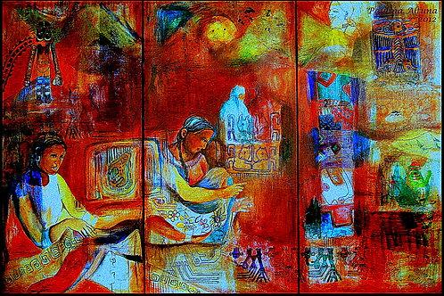 Série Mujeres Andinas,Femmes au marché, Triptyque 150 x 180 cm