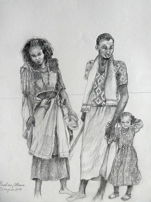 Famille au marché, Ethiopie